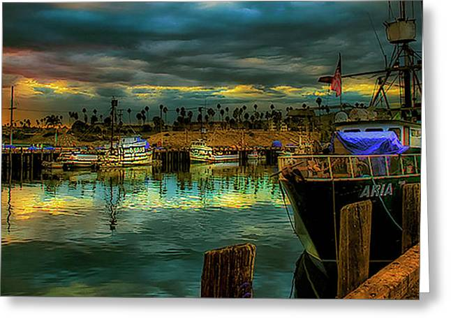 Fishing Harbor At Sunset Greeting Card by Joseph Hollingsworth