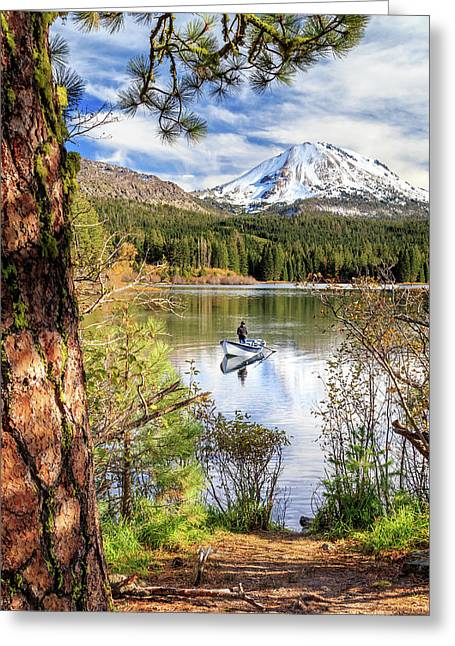 Greeting Card featuring the photograph Fishing In Manzanita Lake by James Eddy