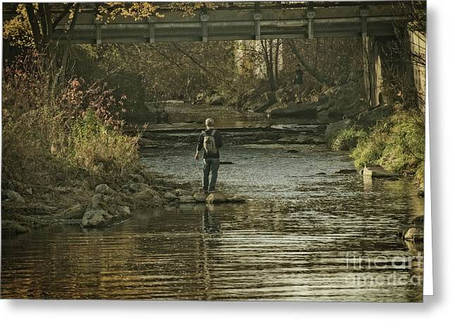 Fishing In November - 1 Greeting Card by Mary Machare