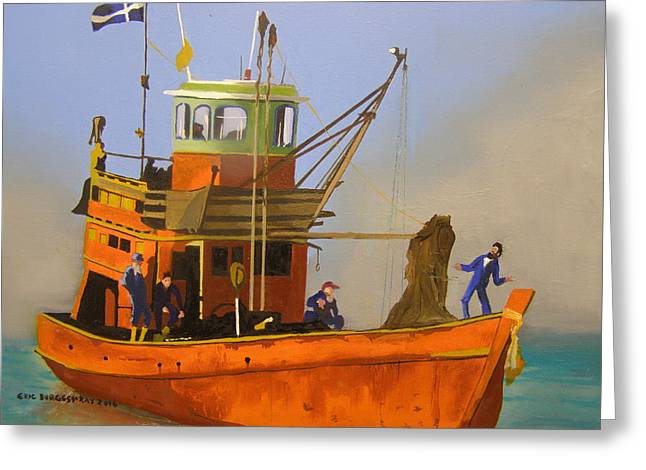 Fishing In Orange Greeting Card