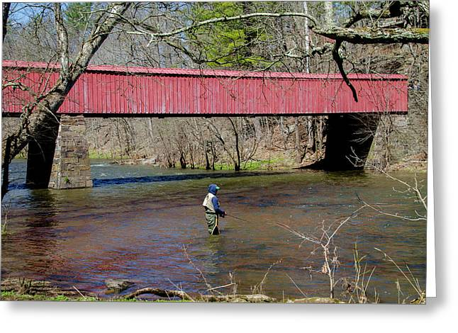 Fishing In Ralph Stover Park Bucks County Pa Greeting Card by Bill Cannon