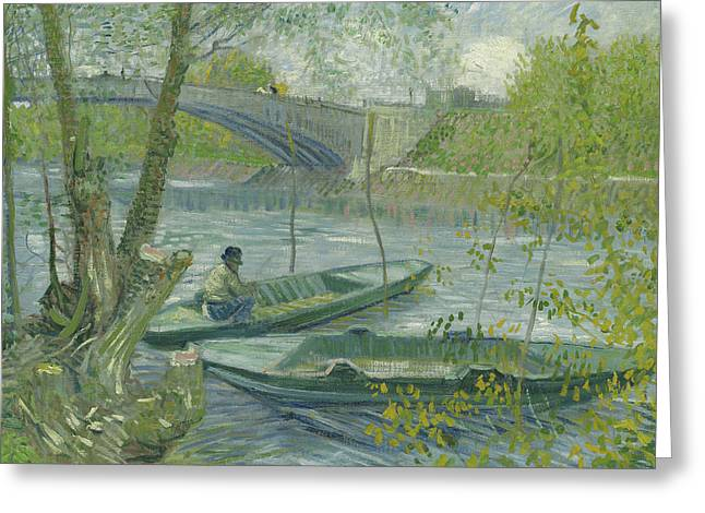 Fishing In Spring, The Pont De Clichy Greeting Card