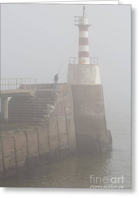 Fishing In The Mist. Greeting Card by John Cox