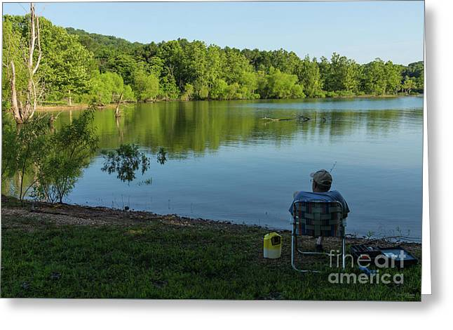 Fishing In The Morning Greeting Card by Jennifer White
