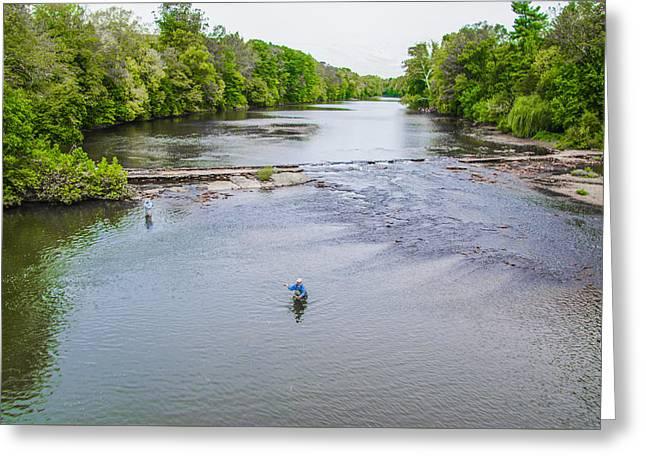 Fishing In The Pekiomen Creek Greeting Card by Bill Cannon