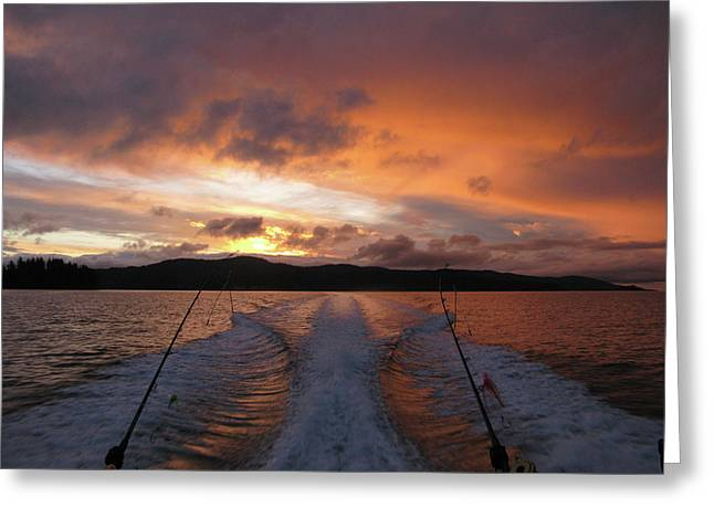 Fishing In The Sun Greeting Card by Monte Arnold