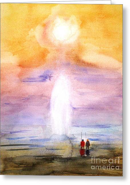 Fishing In The Sunset Greeting Card