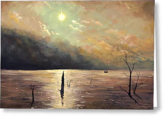 Fishing In The Twilight Waters Greeting Card by Connie Tom