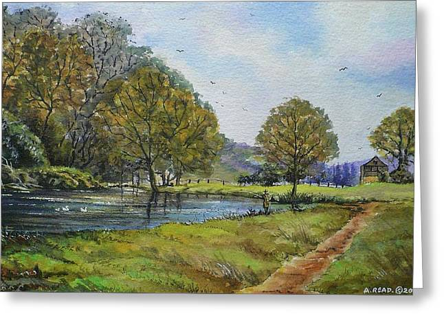 Fishing In The Wye Valley Greeting Card by Andrew Read