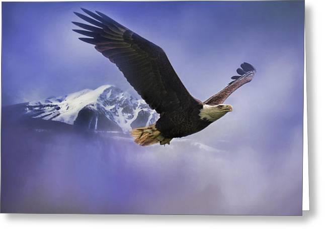 Fishing In Winter Bald Eagle Art Greeting Card by Jai Johnson