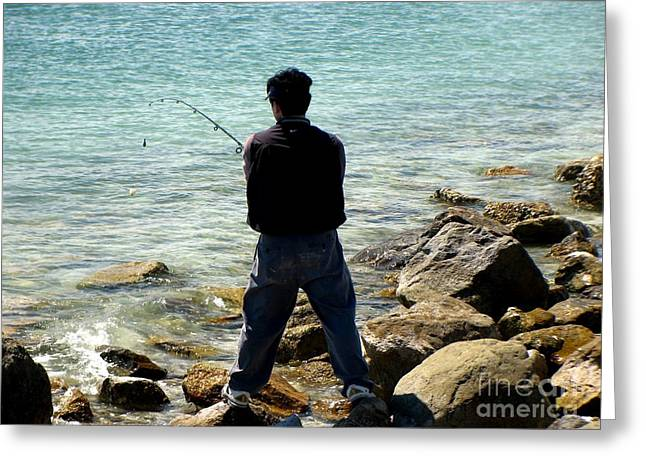 Fishing Greeting Card by Kathy Flugrath Hicks
