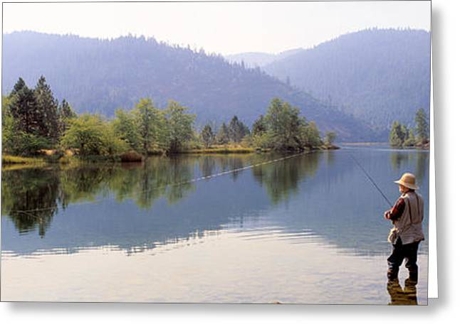 Fishing, Lewiston Lake, California, Usa Greeting Card by Panoramic Images