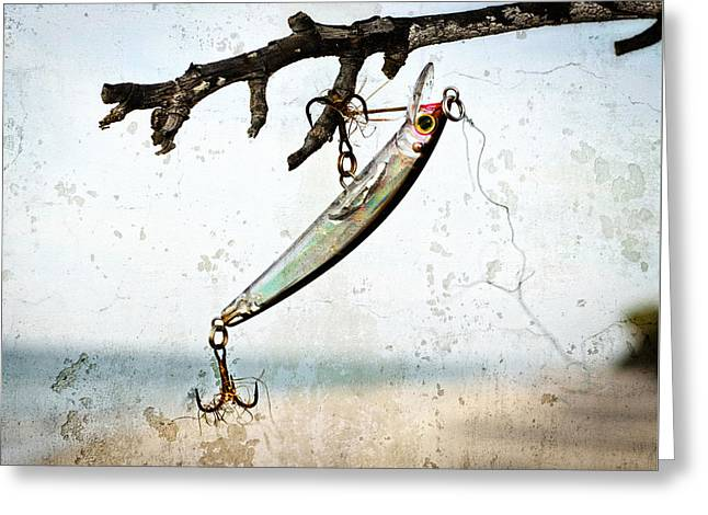 Fishing Lure Art - Caught - Sharon Cummings Greeting Card