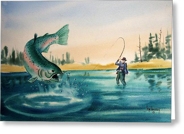 Fishing Montana Greeting Card by Kevin Heaney
