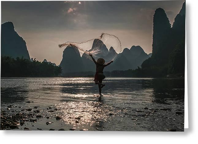 Fisherman Casting A Net. Greeting Card