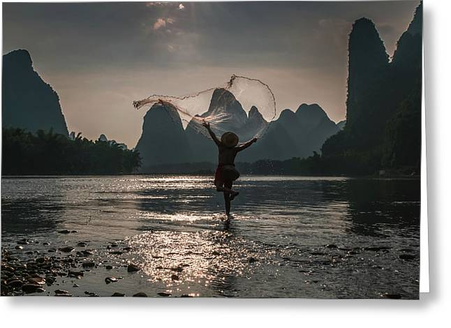 Fisherman Casting A Net. Greeting Card
