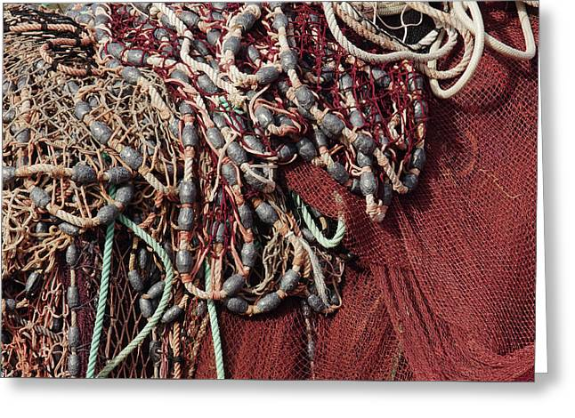 Fishing Nets And Led Weights Greeting Card by Carlos Caetano