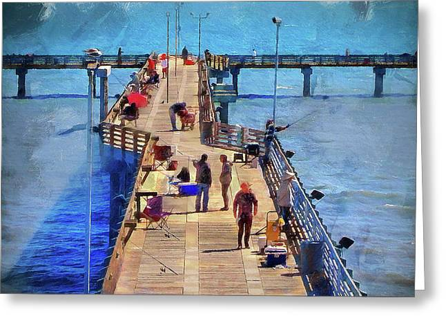 Fishing Off Galvaston Pier Greeting Card