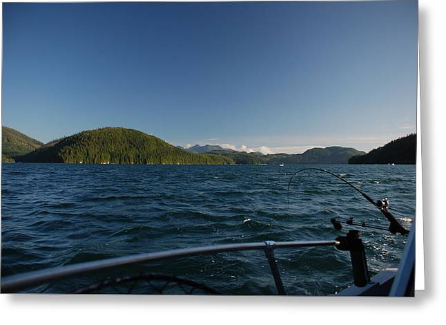Fishing Off Hisnit Inlet Greeting Card