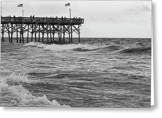Greeting Card featuring the photograph Fishing Off The Pier At Myrtle Beach by Chris Flees