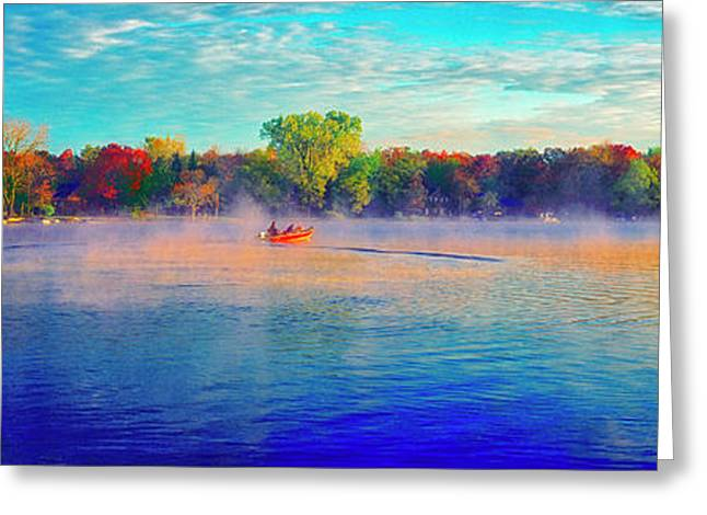 Fishing On Crystal Lake, Il., Sport, Fall Greeting Card