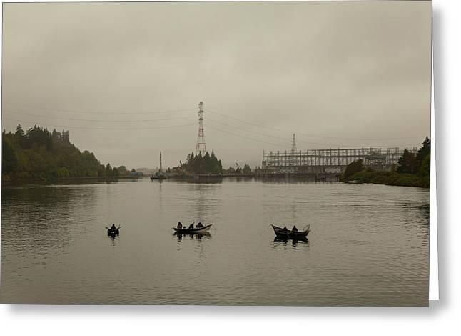Fishing On Foggy Columbia River Greeting Card