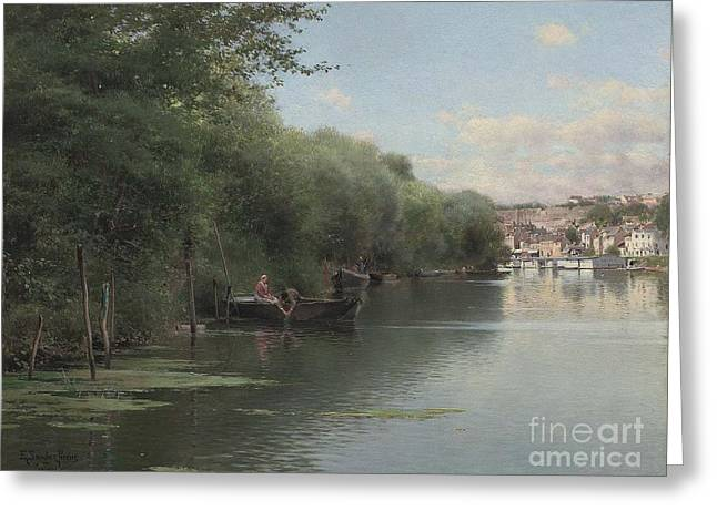 Fishing On The Bank Of The Oise Greeting Card by MotionAge Designs