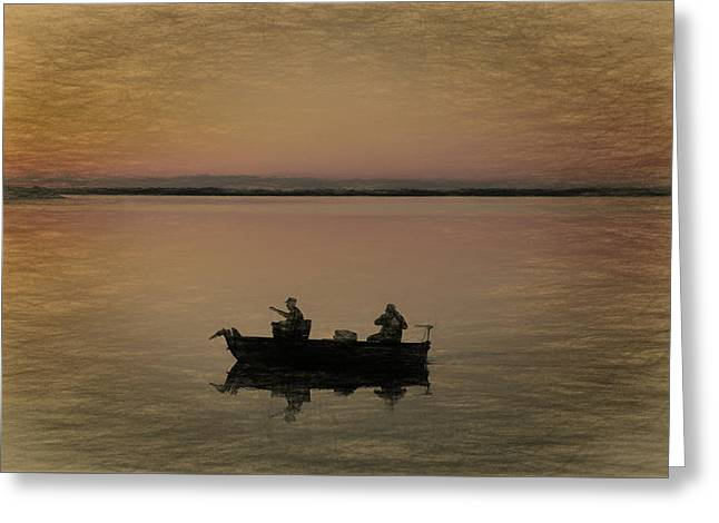 Fishing On The Boat Greeting Card