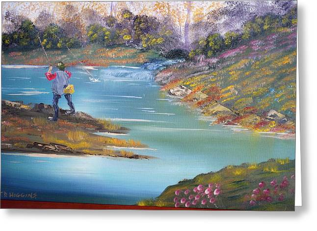 James Higgins Greeting Cards - Fishing on the Fly Greeting Card by James Higgins