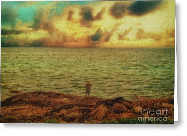 Greeting Card featuring the photograph Fishing On The Rocks by Leigh Kemp