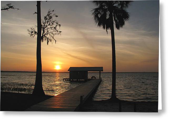 Greeting Card featuring the photograph Fishing Pier At Dusk by Peg Urban