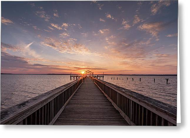 Fishing Pier Sunrise Greeting Card by Michael Donahue
