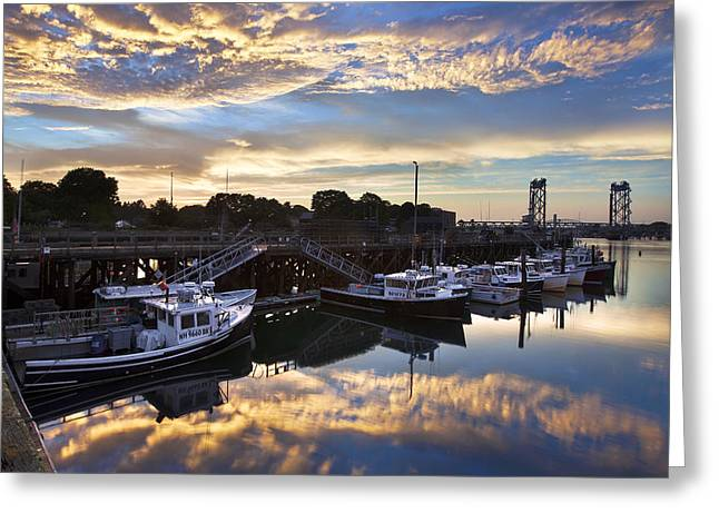 Fishing Pier Sunset Greeting Card by Eric Gendron