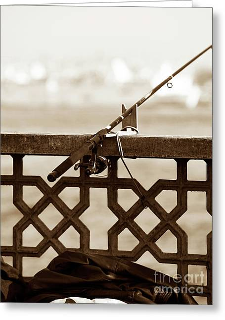 Fishing Pole On The Galata Greeting Card by John Rizzuto