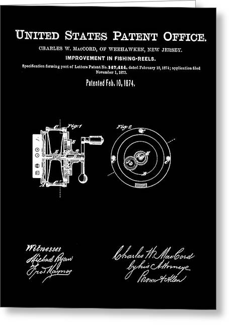 Fishing Reel Patent 1874 Black Greeting Card by Bill Cannon