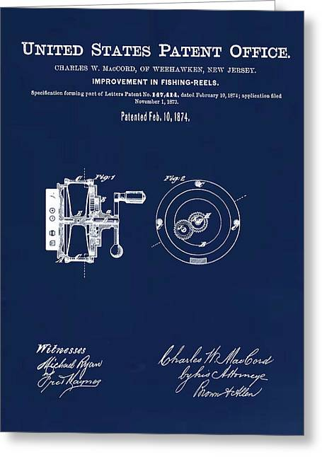 Fishing Reel Patent 1874 Blue Greeting Card by Bill Cannon