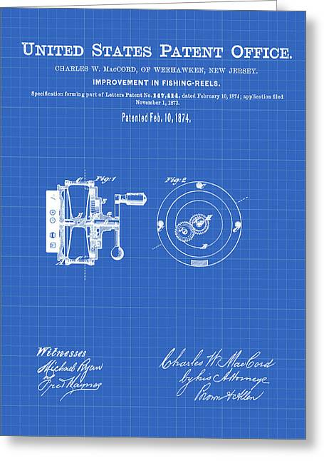 Fishing Reel Patent 1874 Blueprint Greeting Card by Bill Cannon