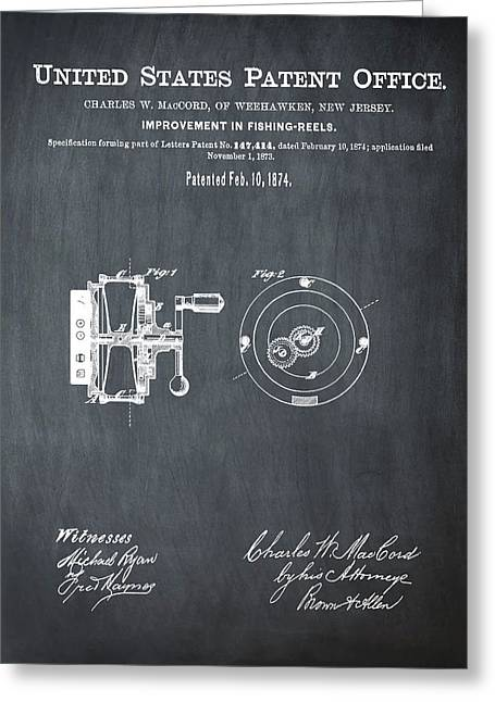 Fishing Reel Patent 1874 Chalk Greeting Card by Bill Cannon