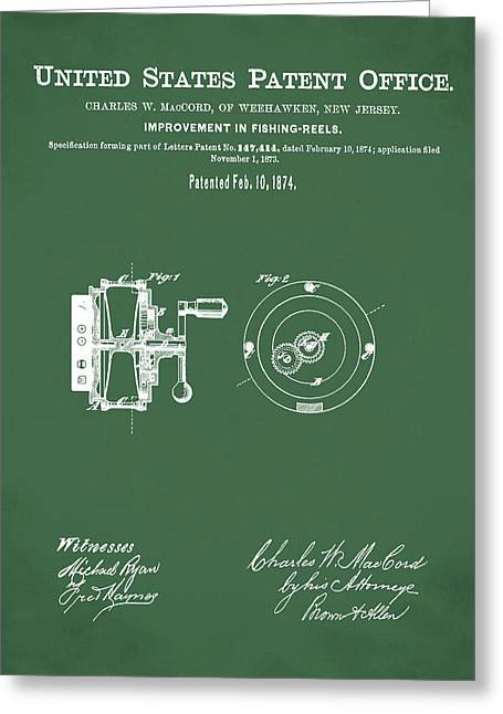 Fishing Reel Patent 1874 Green Greeting Card by Bill Cannon