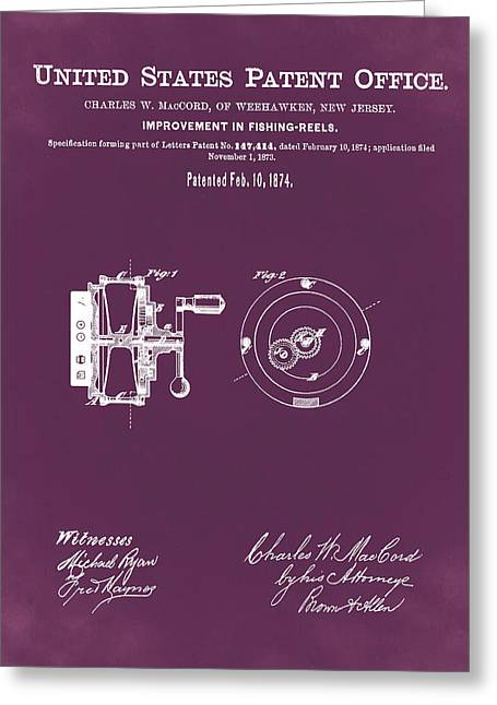Fishing Reel Patent 1874 Red Greeting Card by Bill Cannon