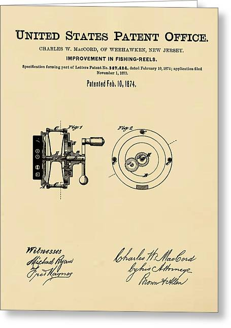 Fishing Reel Patent 1874 Sepia Greeting Card by Bill Cannon