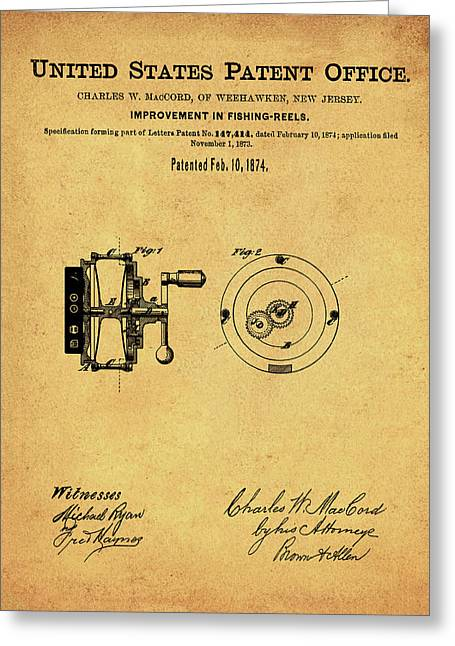 Fishing Reel Patent 1874 Vintage Sepia Greeting Card by Bill Cannon