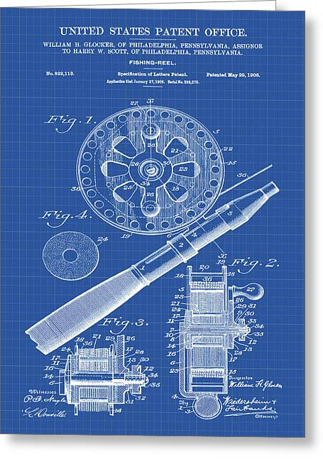 Fishing Reel Patent 1906 Blueprint Greeting Card by Bill Cannon