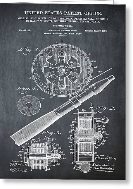 Fishing Reel Patent 1906 Chalk Greeting Card by Bill Cannon