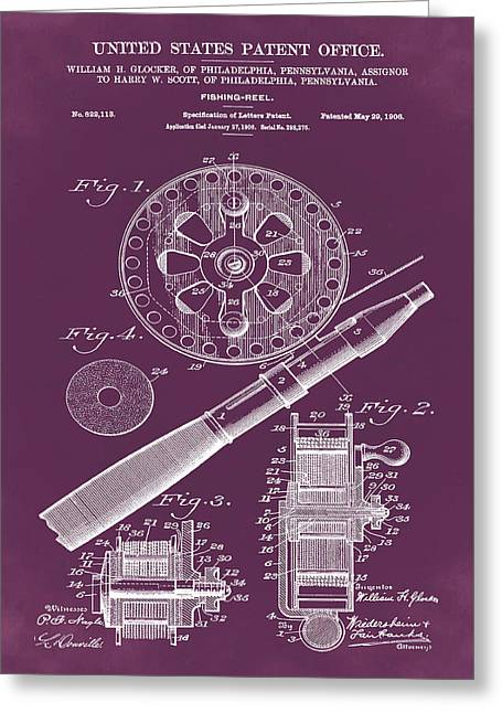Fishing Reel Patent 1906 Red Greeting Card by Bill Cannon