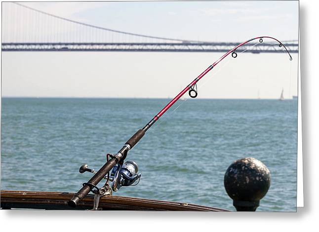 Fishing Rod On The Pier In San Francisco Bay Greeting Card