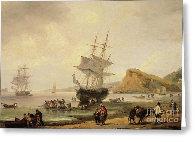 Fishing Scene, Teignmouth Beach And The Ness, 1831 Greeting Card by Thomas Luny