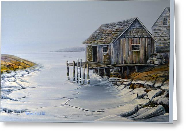 Fishing Shack Peggy's Cove Greeting Card by Wayne Enslow