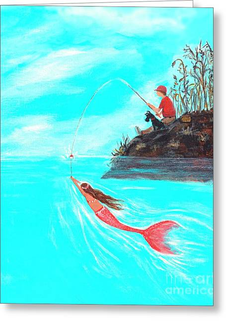 Greeting Card featuring the painting Fishing Surprise by Leslie Allen