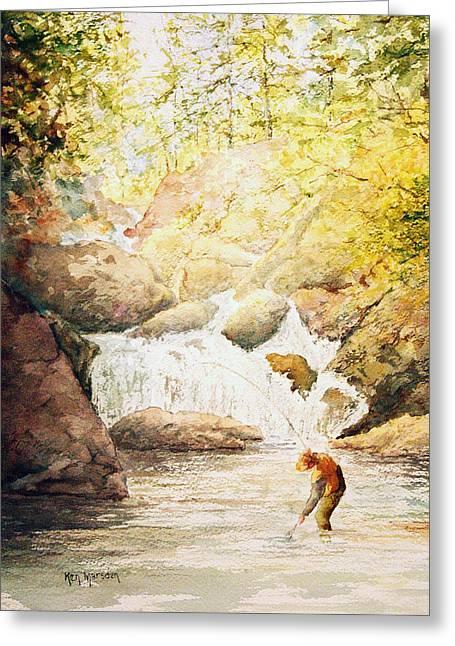 Fishing The Falls Greeting Card